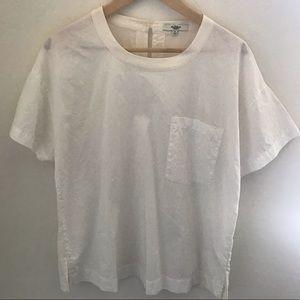 MADEWELL White Silk Top SIZE: Medium